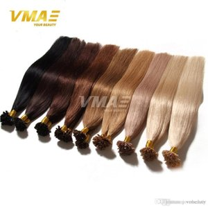 Wholesale fusion Pre Bonded u tip human hair extension colorful nail hair Brazilian human hair long natural black blonde keratin g strand