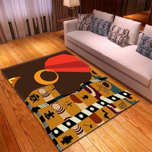 Wholesale Floor Carpets African Woman Printing Large Area Rug American Style Modern Carpet Fluffy Deco Adult Room Living Room Mat