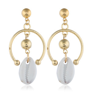 Wholesale Sea Shell Earrings For Women Gold Silver Color Big Earring Metal Shell Statement Earring Summer Beach Jewelry