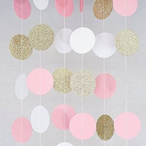 Wholesale 3M Pink White Multicolor Sparkle Round Circle Paper Garland Flora String Wedding Birthday Baby Shower Party Decoration Supplies