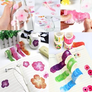 Wholesale scrapbook adhesive tape resale online - 1 piece batch of Japanese paper masking tape flower decoration adhesive scrapbook DIY paper Japanese sticker rose