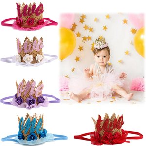 Wholesale Baby Lace Crown Headband Baby Headbands Kids Lace Flower Hair Ornament Hat Girl Decorative Tiaras Birthday Party Pincess Crown