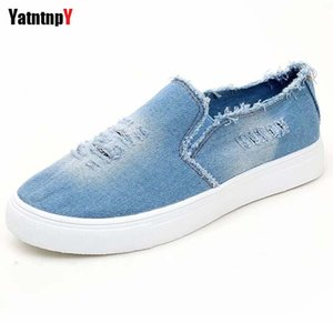 Fashion Woman Canvas Flat Shoes 2019 Plus Big Size Women Slip-On Casual Denim Sneakers Girl Lovers Blue Flats Student Loafers