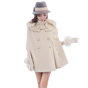 Wholesale Women Cashmere Cloak Coat Beige Fur Collar Double Breasted Loose Woolen Female Cape Batwing Sleeve Winter Poncho Oversized XH786