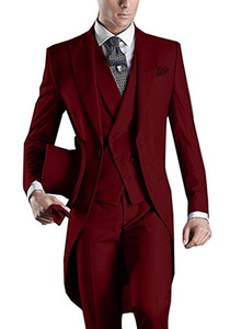 Morning Style Groomsmen Peak Lapel Groom Tuxedos Burgundy Men Suits Wedding Prom Dinner Best Man Blazer ( Jacket+Pants+Tie+Vest ) B468