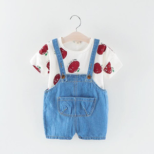 Children's spring and autumn children's suit baby spring and autumn loaded apple long-sleeved denim bib two-piece 2019