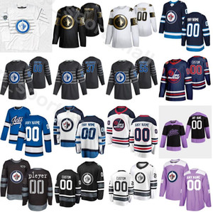 jets star al por mayor-Hockey sobre hielo All Star Winnipeg Jets Jersey Mark Scheifele Connor Hellebuyck Kyle Connor Patrik Laine Navy Azul Blanco