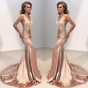 Mermaid Evening Dresses Spaghetti Backless Satin Sweep Train Applique Women Dresses Sleeveless 2019 Sexy Pageant Dress Gowns on Sale