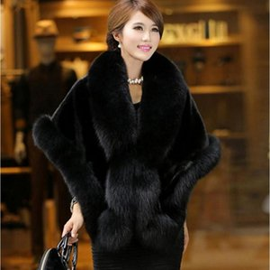 Wholesale Faux fur coat female long section mink hair new Korean version of the imitation fox fur collar shawl