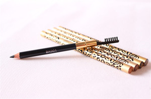 Wholesale Leopard Double Head Eyebrow Eyeliner Pen Waterproof Black Brown Grey Pencil With Brush Make Up Eyeliner colors