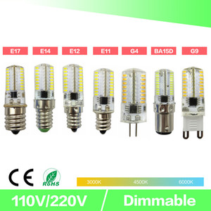 Dimming LED Mini Bulb Crystal Clear Silicone Corn Light 3014 SMD 64 LED AC220V   AC110V for Chandelier Crystal Light E14 G9 G4