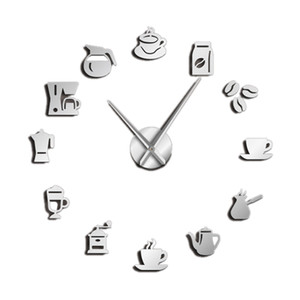 Wholesale Cafe Diy Large Wall Clock Frameless Giant Wall Clock Modern Design Cafe Coffee Mug Coffee Bean Decor Kitchen Watch