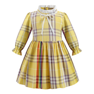 Wholesale autumn spring long sleeve princess girls dress fashion baby rainbow plaid girls party dress fashion children clothing