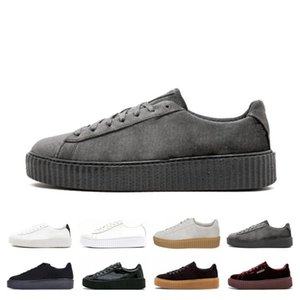 Wholesale Cheap Sale PM Rihanna Fenty Creeper Classic Platform Casual Shoes Velvet Cracked Leather Suede Men Women Fashion Designer Sneakers