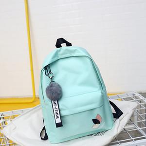 2018 Solid backpack girl school bags for teenage College wind Women SchoolBag High student bag black nylon printing Y190601