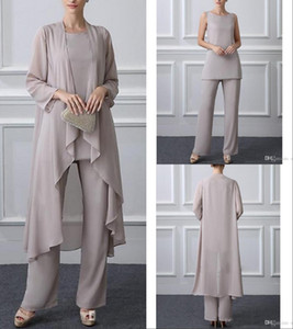 Wholesale three piece elegant pant suit resale online - Plus Size Elegant Gray Chiffon Three Piece Mother Of The Bride Pant Suit With Long Jacket