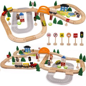 Wholesale akitoo Export quality wooden track toys small train puzzle assembly can be equipped with electric car track gift