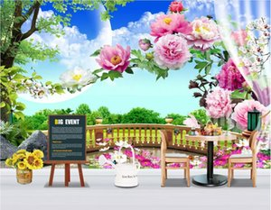 Wholesale garden wallpaper for living room resale online - 3d wallpaper custom photo murals European garden balcony grassland landscape peony flower rose d wallpaper for walls d living room