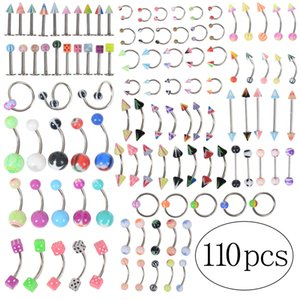 110Pcs lot Fashion Piercing Set Eyebrow Bar Lip Nose Pircing Ear Studs Stainless Steel Mixed Body Jewelry