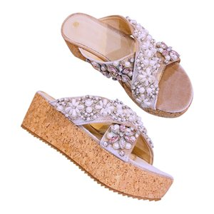 Wholesale Handmade Crystals Women Slides Flower Diamond Pearls Platform High Heels Wedge Slippers Summer Shoes Woman Flip Flops