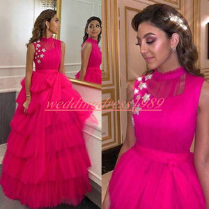 Wholesale Modest Arabic Fuchsia Tiered Evening Dresses Stars High Neck Sleeveless Tulle Celebrity Plus Size Party Pageant Occasion Formal Prom Gowns