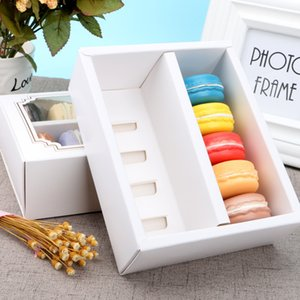 Wholesale 10pcs Macarons Storage Box Dessert White Paper Packaging Cake Carriers Containers with Clear Window for Mini Donut Biscuits
