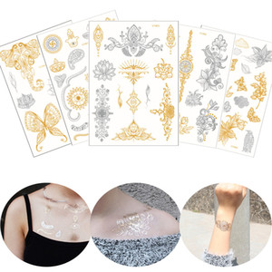 Wholesale henna style hand tattoos for sale - Group buy Flash Gold Metallic Tattoo Silver Datura Henna Flower Designs Waterproof Temporary Chest Shoulder Arm Body Art Tattoo Stickers Western Style