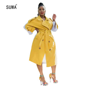 Yellow Color Turn-Down Collar Long Sleeve Double-Breasted Pocket Loose Trench Classic Street Women's Clothing With Sashes
