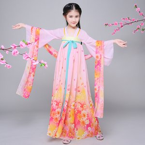 Wholesale Children Chinese Folk Dance Costume Girls Hanfu Dress Chinffon Kids Princess Dance Costume for Stage Fairy Cosplay