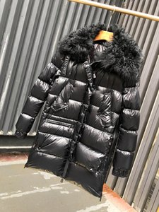 Wholesale Winter Jacket New Bright Coat Medium and long lamb hair down jacket duck down Padded Very beautiful color Collar Coat Student Jac