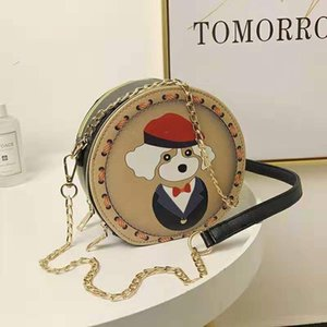 2019 fashion girl kawaii pop style chain style hand round handbag style PU material printing pattern fashion shoulder bag
