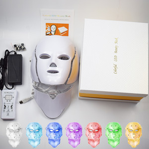 korea máscara facial venda por atacado-Na Pro da Coreia do Cor Led Photon Terapia Light Machine PDT Máscara Facial Rosto LED Máscara Facial com Neck