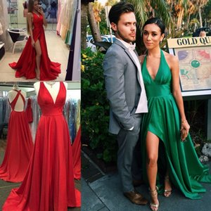 Wholesale New Fashion A-Line Evening Dresses Mopping Long Section Special Occasion Dresses V-Neck Backless Criss Cross Straps Front Split Sexy Back