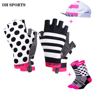 Wholesale Stylish Cycling Gloves Half Finger Men Women Sports Shockproof Bike Gloves Gel Racing Bicycle Gloves With Cycling Socks Caps Set
