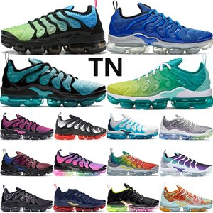 Wholesale Best quality aurora green TN PLUS mens running shoes be true lemon lime White Blue Grid Print men women trainers sneakers