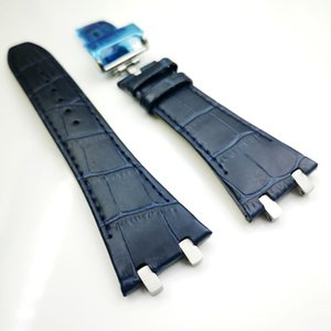 27mm Dark Blue high quality Leather Strap 18mm Deployment Clasp Strap 4 Connector 4 Screw 2 Link for AP Royal Oak 15400 15300
