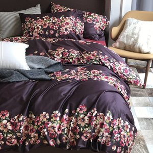 Wholesale Luxury s Egyptian Cotton American Morden style Queen King size Bedding sets Bed Sheet Duvet Cover set leopard purple flower