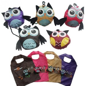 Wholesale Hot Cute Animal Owl Shape Folding Shopping Bag Eco Friendly Ladies Gift Foldable Reusable Tote Bag Portable Travel Shoulder