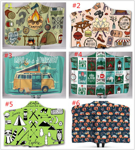 Camper Picnic Hooded Blankets for kids Soft Warm Camping Car Throw Blanket with Hood Soft warm Sherpa Fleece Blankets Wrap for children