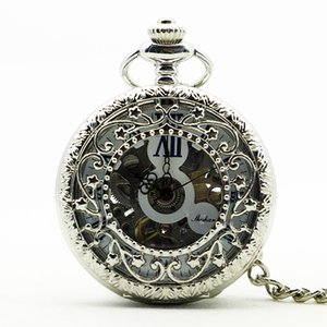 Wholesale Silver Clamshell Hand Wind Mechanical Pocket Watch With Box Men Women Skeleton Gears Watch Gift