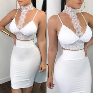 Wholesale Women Ladies Piece Lace Bodycon Two Piece Outfits Sleeveless Shirt Crop Tops Skinny Skirt Set Bandage Party Clothing