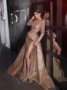 2019 Champagne Deep V Neck Prom Evening Dresses Sexy Mermiad Sequins Long Formal Party Dress High Slit Pageant Gown Plus Size on Sale
