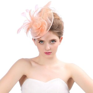 Wholesale Bridal Net Feather Hats White Red Black Birdcage Net Wedding Hats Bridal Fascinator Face Veils bride