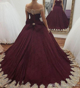 Wholesale 2019 Burgundy Quinceanera Dress Princess Arabic Dubai Off Shoulder Sweet Ages Long Girls Prom Party Pageant Gown Plus Size Custom Made