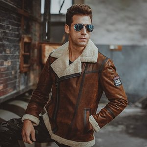 Wholesale Men's real leather jacket Faux fur shearling motorcycle pigskin Genuine Leather bomber jackets aviator coat