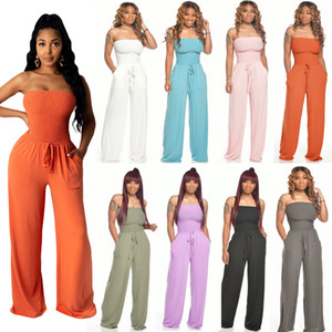 Hot Sale Solid Home Cotton Jumpsuits Women Strapless Sleeveless Pleats Elegant Sash Straight Pants Stretchy Rompers 2020 Newest Real Image