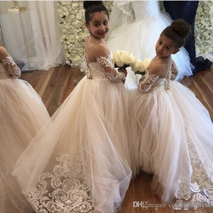 Wholesale New White Ball Gown Flower Girl Dresses Sheer Neck Long Sleeve Lace kid wedding dresses pakistani Cute Lace Toddler girls pageant dresses