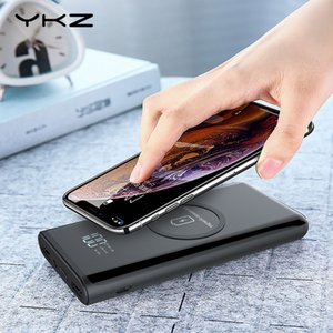 Wholesale YKZ Wireless Charger Power Bank 10000mAh LED Display Portable Powerbank with LED Flashlight External Battery for iPhone Samsung