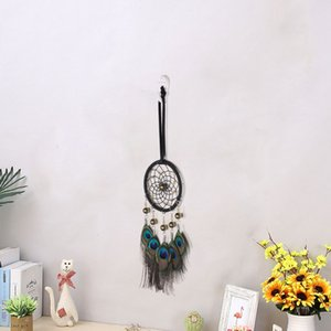 Wholesale Indian Lucky Dream Catcher Vintage Home Background Wall Decor Peacock Feathers Car Pendant Pieces ePacket