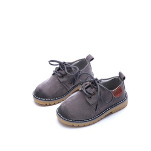 Wholesale Kids Boy Casual Shoes Baby Girl Big Head Leather Shoes Children Shoes Side Zipper Shoelace Solid Anti-skid 6